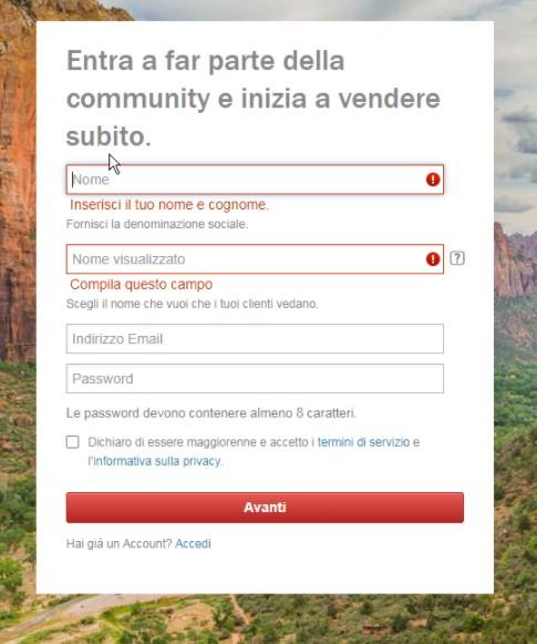 Iscrizione come contributor su Shutterstock, step 2