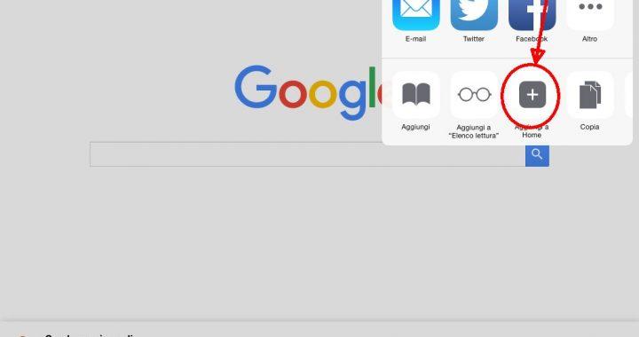 sequenza per aggiungere un sito in home su ipad