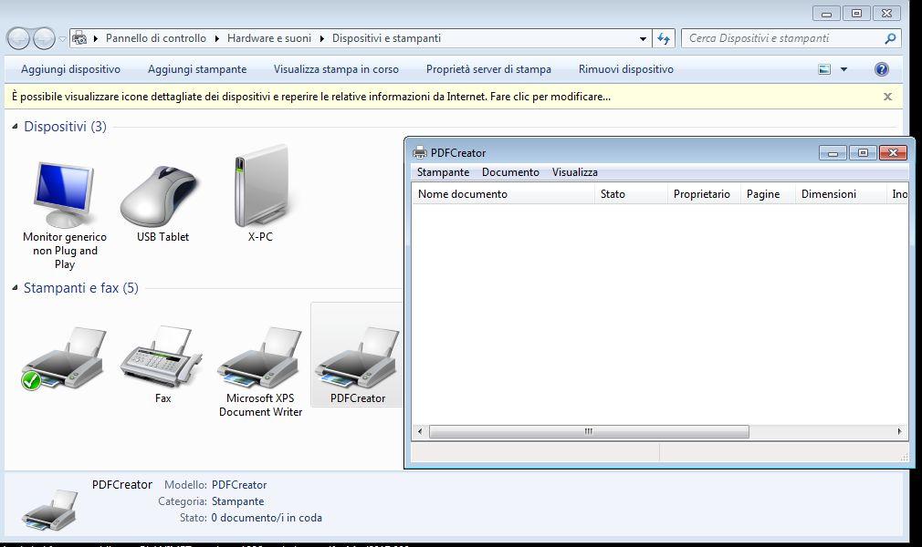 coda di stampa pdf creator