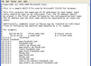 File host modificato per bloccare Facebook