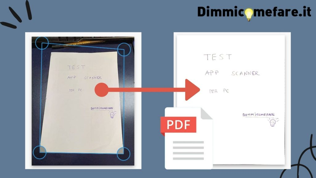 photo scanner su pc, online, trasformare da immagine a documento (con crop e aggiustamento contrasto e colori)