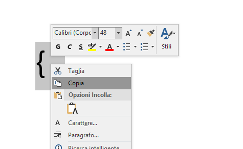 copia di una parentesi graffa su microsoft word