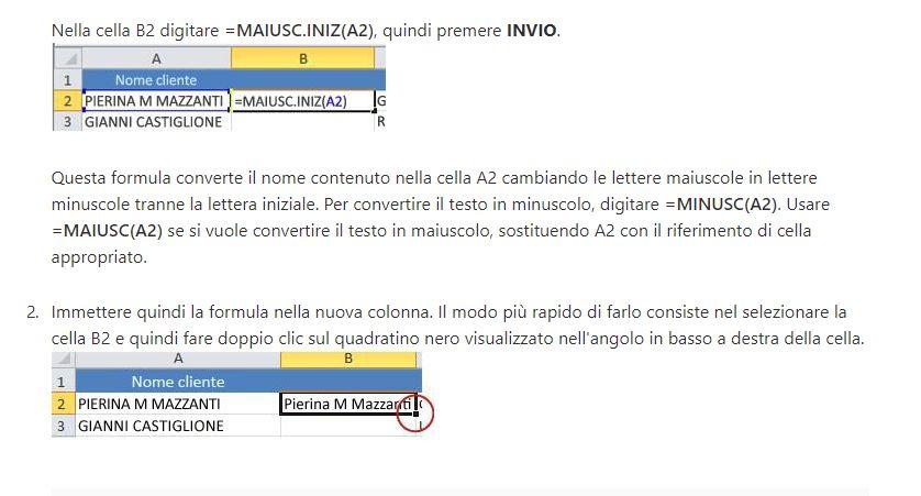 le funzioni MAIUSC, MINUC in Excel