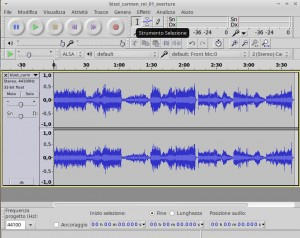 Traccia stereo su Audacity