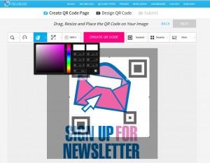L'editor grafico per QR code fornito da Visualeads permette di lavorare su immagini precaricate o di fare l'upload dei propri file.