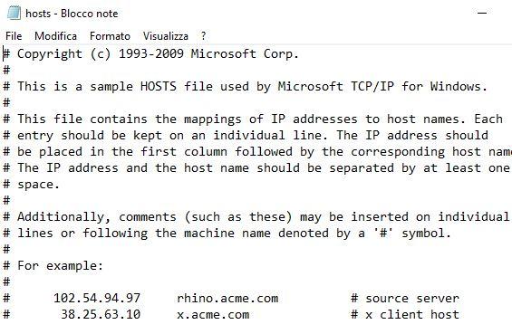 file host vuoto con commenti