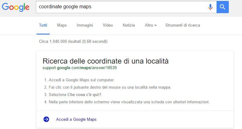 come ricavare le coordinate di un punto su google maps