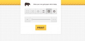 Schermata principale di Gridzzly, sito per stampare fogli a quadretti