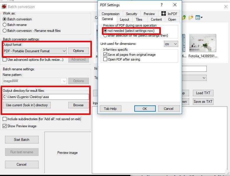impostazioni irfanview per esportazione massiva di pdf