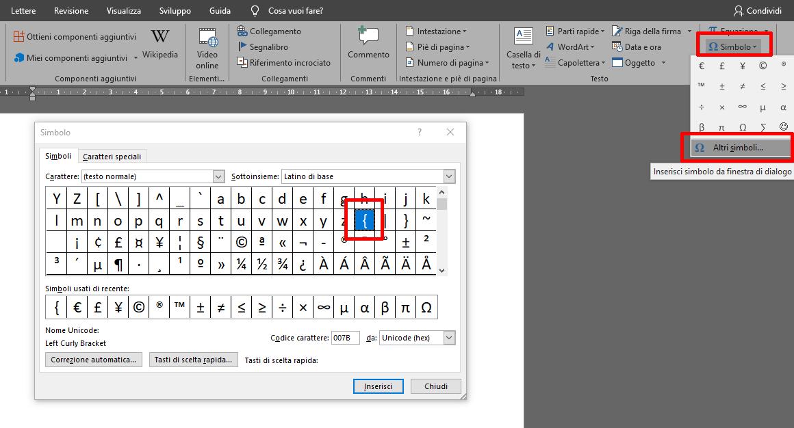 parentesi graffa sulla mappa simboli di Micosoft Word