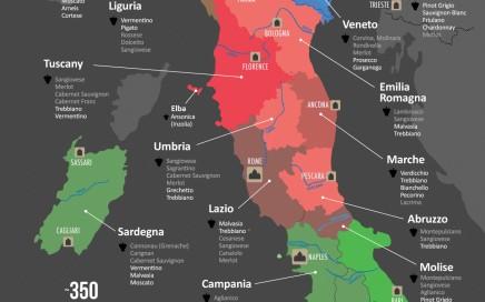 Mappa dei maggiori vini italiani divisi per regione