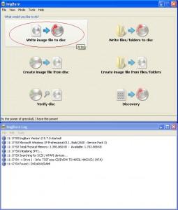 Maschera principale di ImgBurn, per masterizzare file ISO