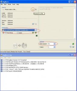 Selezione delle impostazioni di masterizzazione di un'immagine ISO con ImgBurn