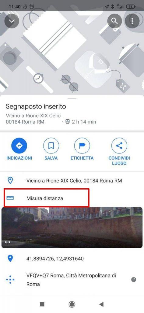 """""""misura distanza"""" su menu Google Maps Android"""
