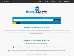 Pagina principale di Music-Clips.net, ottimo sito per convertire e scaricare video Yotube in MP3 (e non solo)