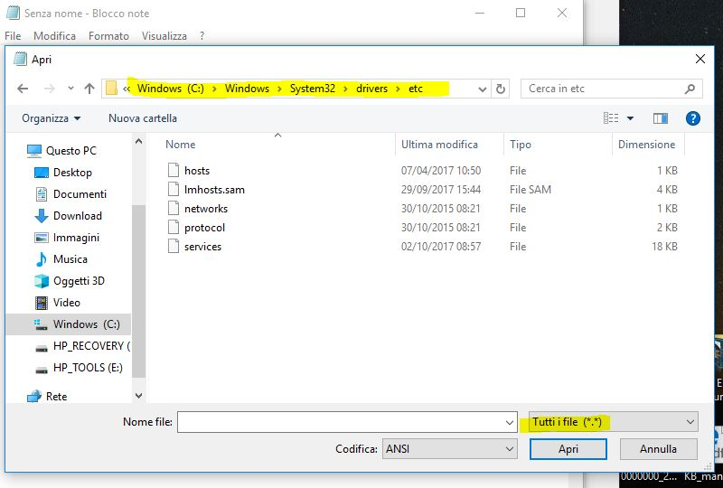 apri il percorso del file hosts