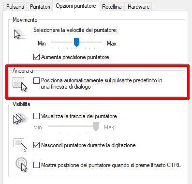 impostazione da attivare per il posizionamento automatico del puntatore su Windows