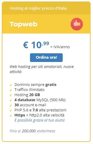 Posta elettronica col tuo dominio personalizzato: a meno di 11 Euro l'anno con il profilo Topweb di Tophost!