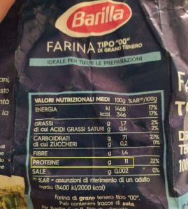 farina barilla 00, contenuto proteine