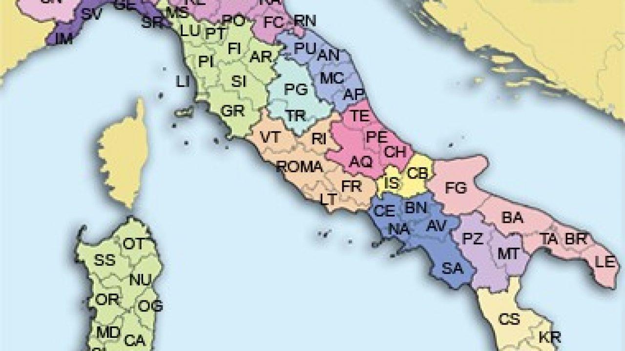 Cartina D Italia Con Capoluoghi Di Regione.Province Italiane Tabella Delle Sigle E Regioni File Pdf Excel E Libre Office