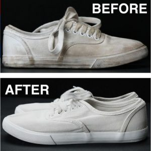 pulire scarpe bianche