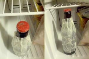 Un panno bagnato attorno la bottiglia prima di metterla in freezer