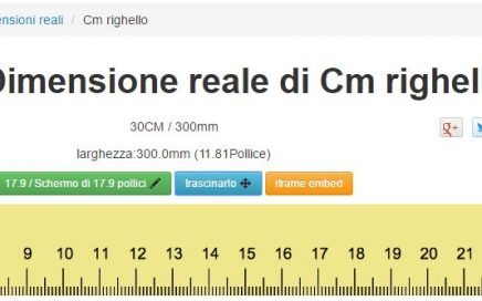 righello in dimensioni reali su monitor