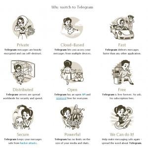 Le caratteristiche di Telegram Messenger presentate nella home del sito ufficiale.