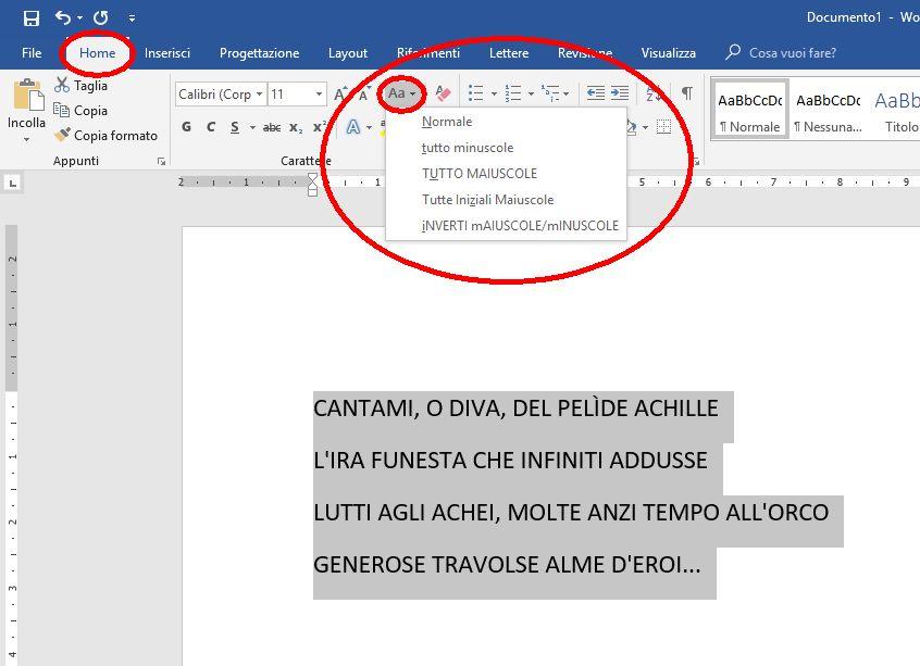 menu in microsoft office word per cambiare il case dei caratteri